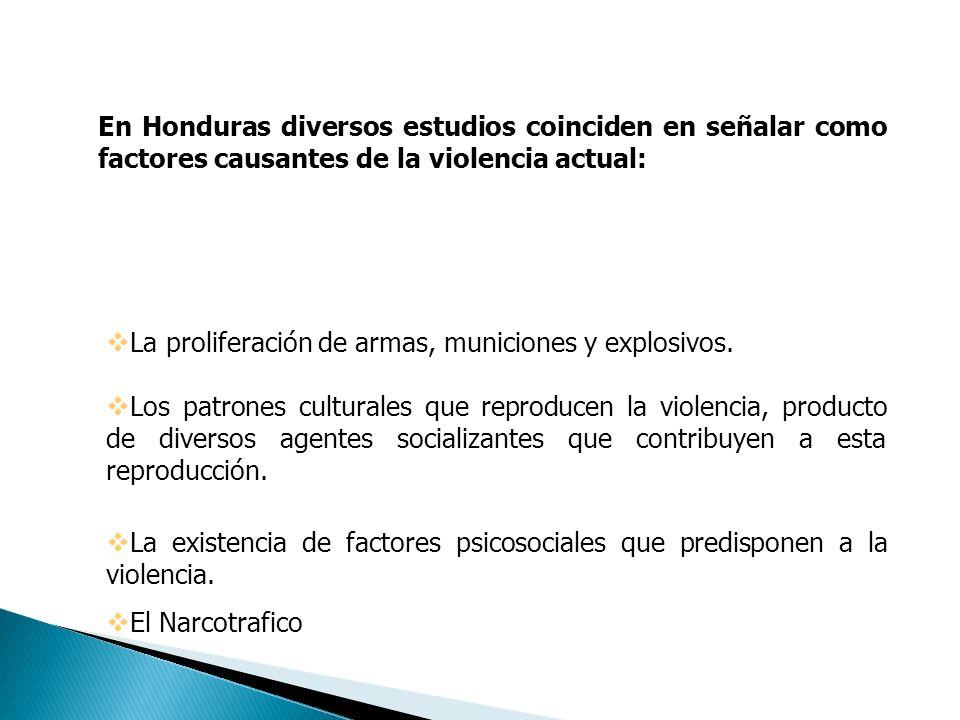 En Honduras diversos estudios coinciden en señalar como factores causantes de la violencia actual: La proliferación de armas, municiones y explosivos.