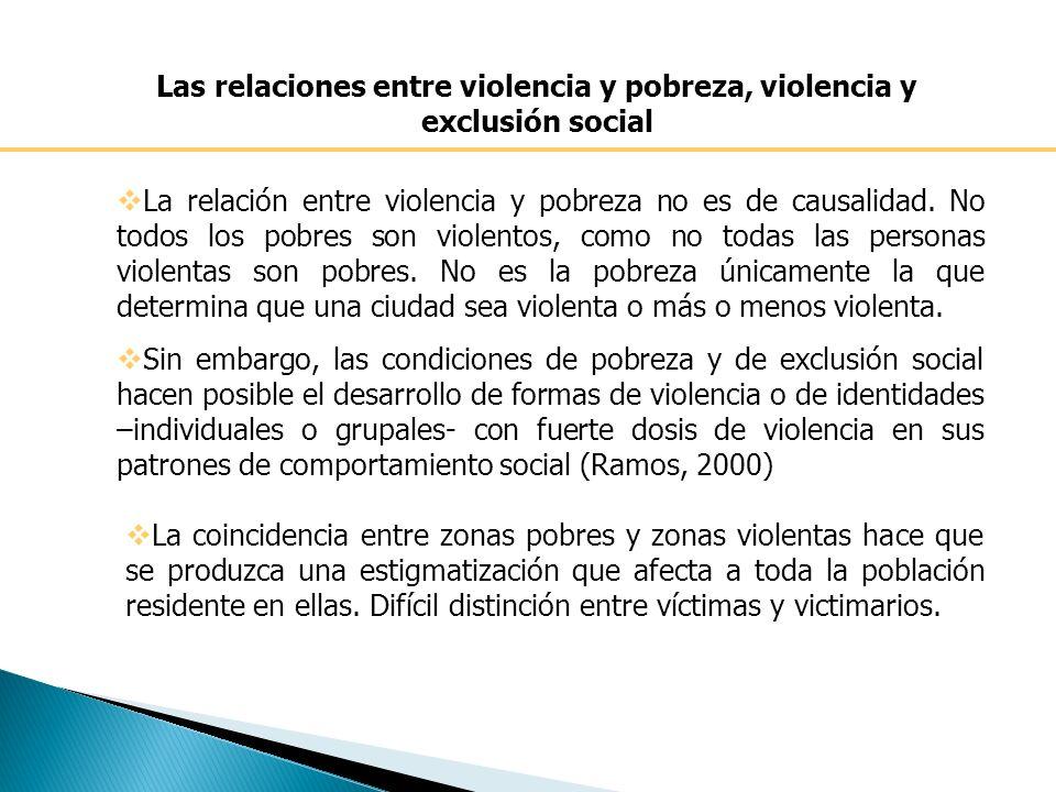 Las relaciones entre violencia y pobreza, violencia y exclusión social La relación entre violencia y pobreza no es de causalidad.