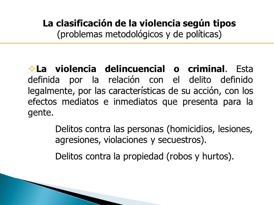 La clasificación de la violencia según tipos (problemas metodológicos y de políticas) La violencia delincuencial o criminal.