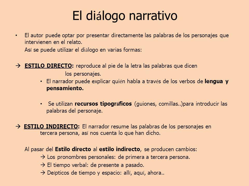 El di á logo narrativo El autor puede optar por presentar directamente las palabras de los personajes que intervienen en el relato. As í se puede util