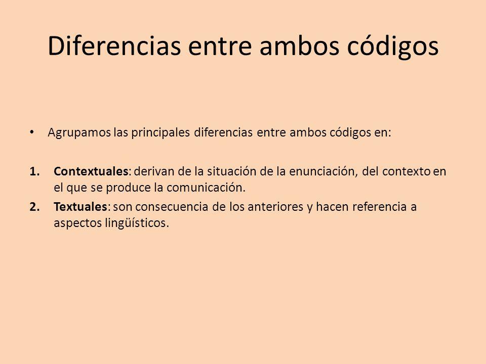 Diferencias entre ambos códigos Agrupamos las principales diferencias entre ambos códigos en: 1.Contextuales: derivan de la situación de la enunciació