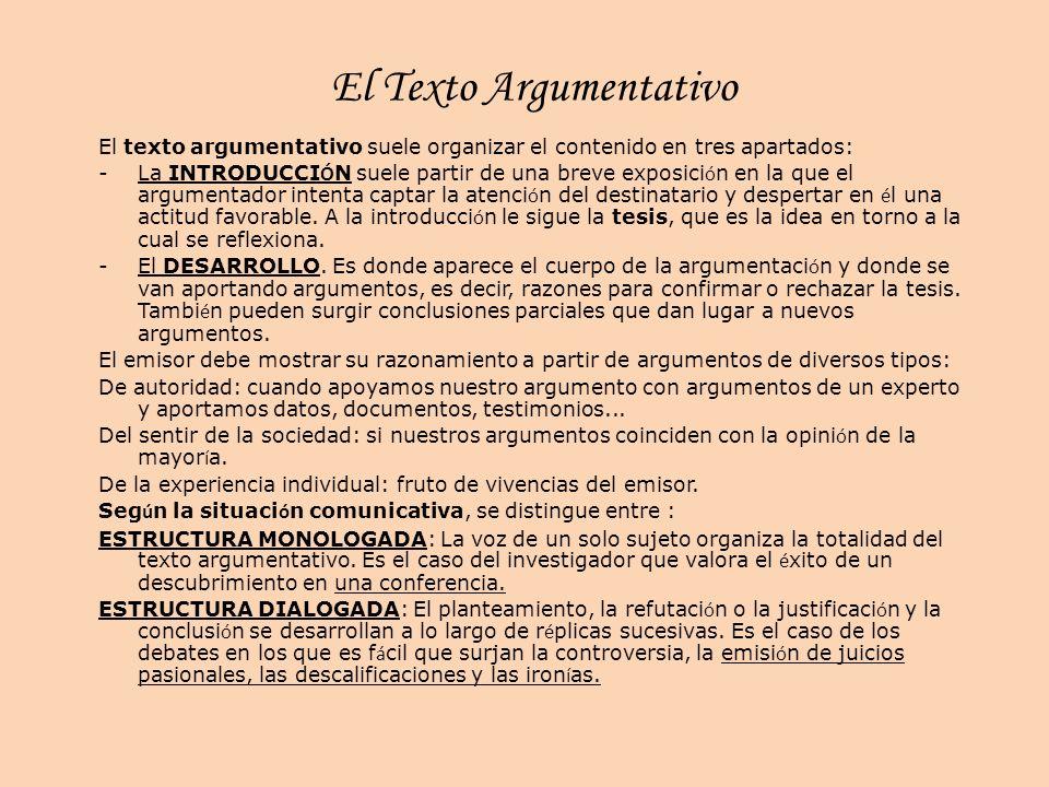 El Texto Argumentativo El texto argumentativo suele organizar el contenido en tres apartados: -La INTRODUCCI Ó N suele partir de una breve exposici ó