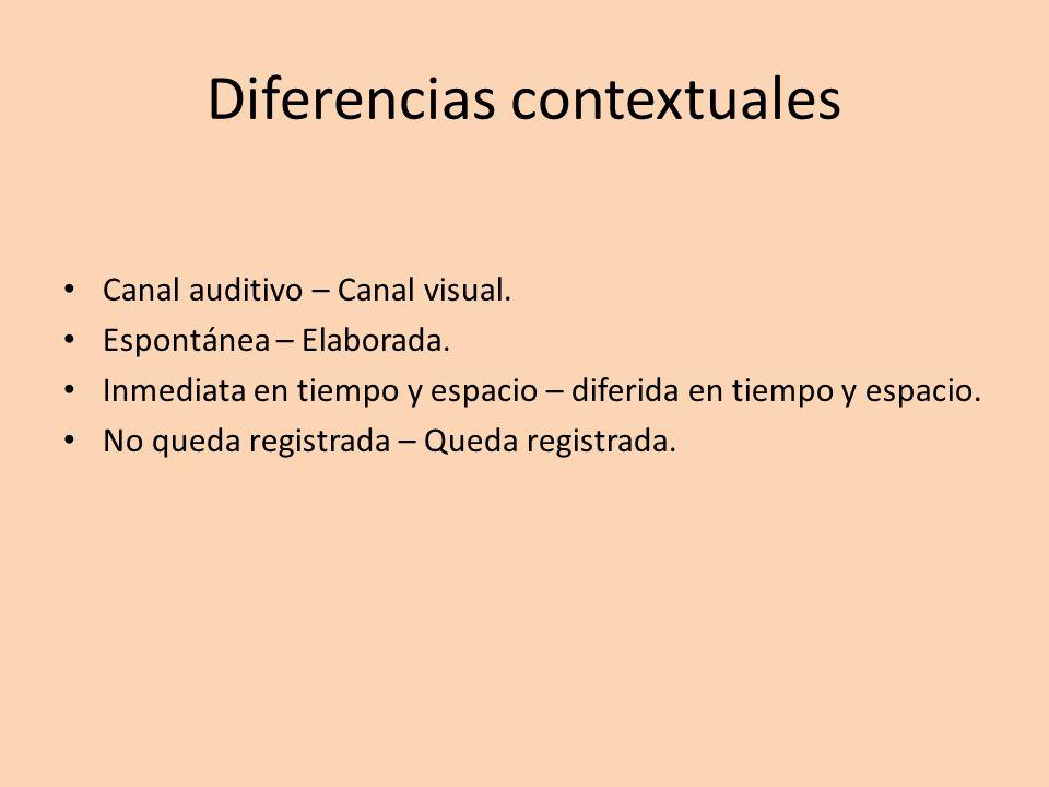 Diferencias contextuales Canal auditivo – Canal visual. Espontánea – Elaborada. Inmediata en tiempo y espacio – diferida en tiempo y espacio. No queda
