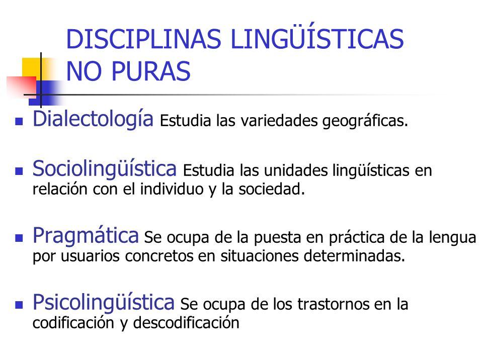 Dialectología Estudia las variedades geográficas. Sociolingüística Estudia las unidades lingüísticas en relación con el individuo y la sociedad. Pragm