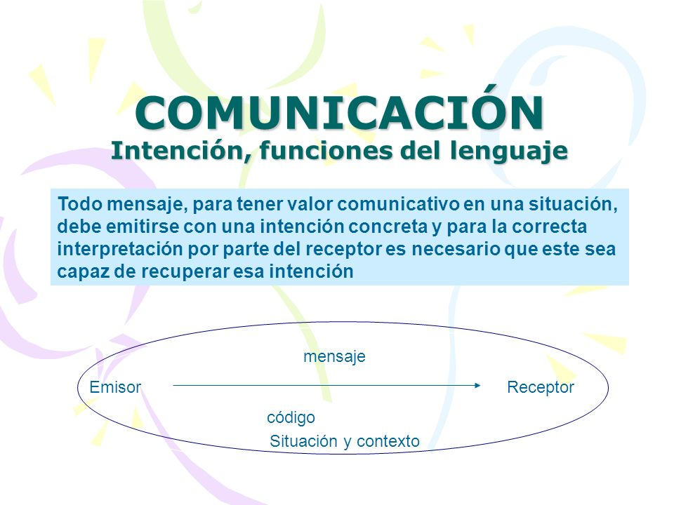 COMUNICACIÓN Intención, funciones del lenguaje Todo mensaje, para tener valor comunicativo en una situación, debe emitirse con una intención concreta