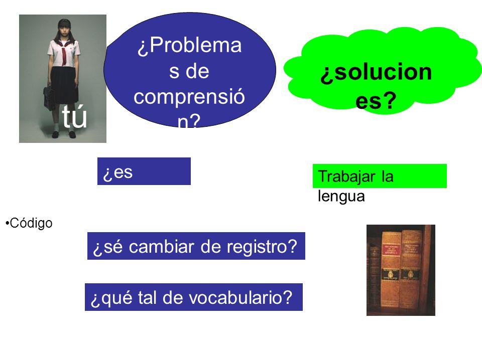 tú Código ¿es común? ¿sé cambiar de registro? ¿solucion es? Trabajar la lengua ¿qué tal de vocabulario? ¿Problema s de comprensió n?