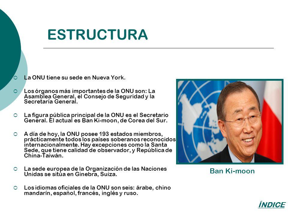 ESTRUCTURA La ONU tiene su sede en Nueva York. Los órganos más importantes de la ONU son: La Asamblea General, el Consejo de Seguridad y la Secretaría