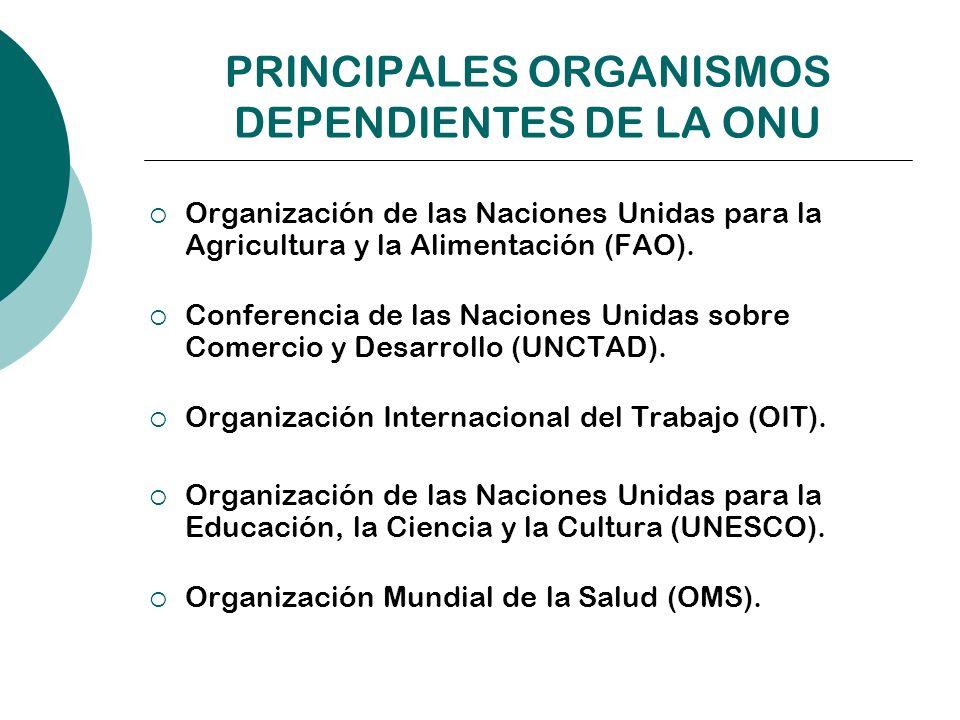 PRINCIPALES ORGANISMOS DEPENDIENTES DE LA ONU Organización de las Naciones Unidas para la Agricultura y la Alimentación (FAO). Conferencia de las Naci