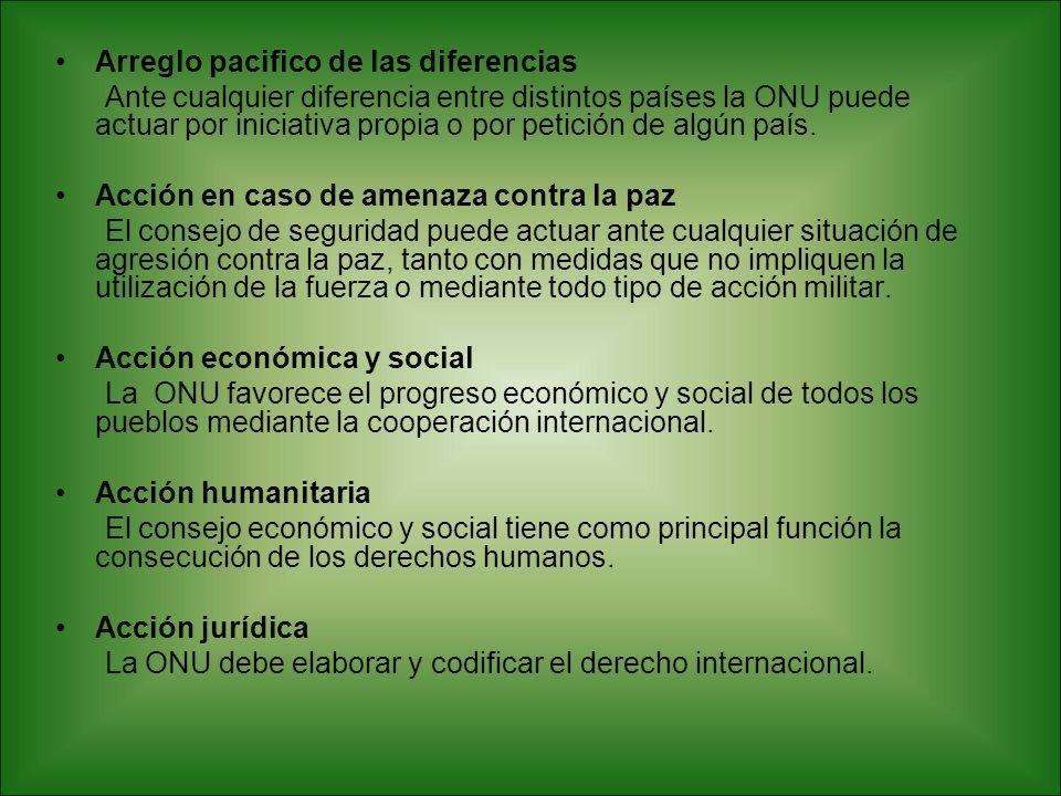 Arreglo pacifico de las diferencias Ante cualquier diferencia entre distintos países la ONU puede actuar por iniciativa propia o por petición de algún