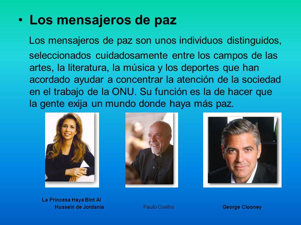 Los mensajeros de paz Los mensajeros de paz son unos individuos distinguidos, seleccionados cuidadosamente entre los campos de las artes, la literatur
