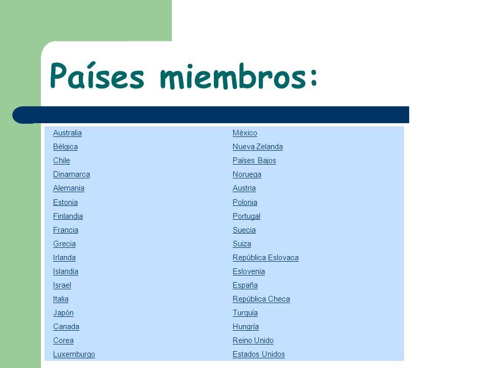 Países miembros: Australia México Bélgica Nueva Zelanda Chile Países Bajos Dinamarca Noruega Alemania Austria Estonia Polonia Finlandia Portugal Franc