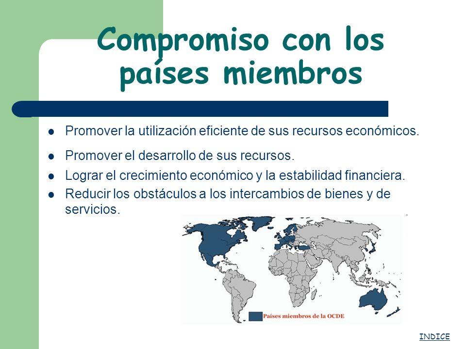 Compromiso con los países miembros Promover la utilización eficiente de sus recursos económicos. Promover el desarrollo de sus recursos. Lograr el cre