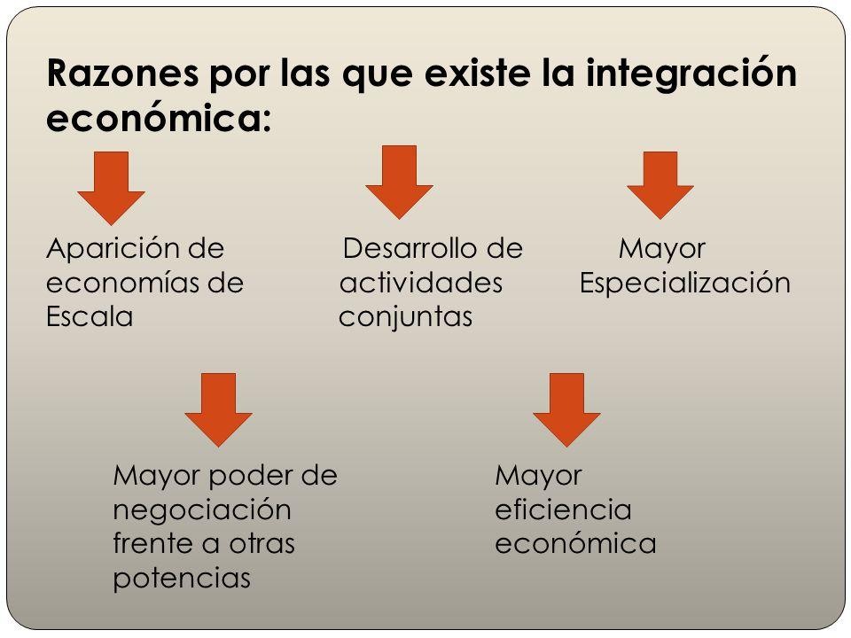 Razones por las que existe la integración económica: Aparición de Desarrollo de Mayor economías de actividades Especialización Escala conjuntas Mayor