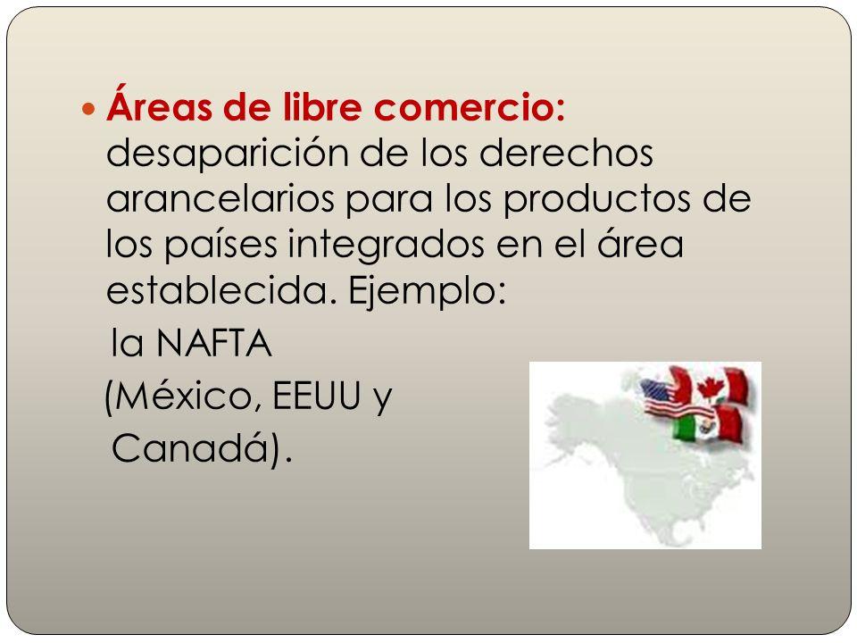 Áreas de libre comercio: desaparición de los derechos arancelarios para los productos de los países integrados en el área establecida. Ejemplo: la NAF