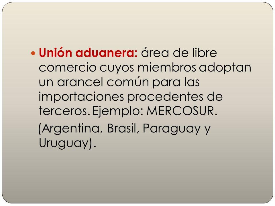 Unión aduanera: área de libre comercio cuyos miembros adoptan un arancel común para las importaciones procedentes de terceros. Ejemplo: MERCOSUR. (Arg
