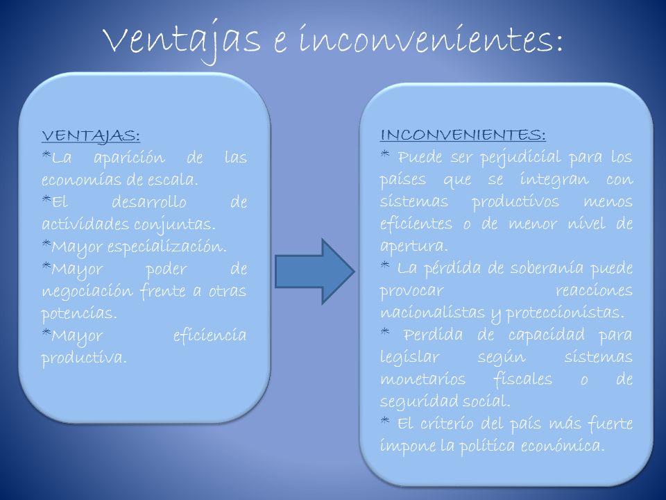 Ventajas e inconvenientes: VENTAJAS: *La aparición de las economías de escala. *El desarrollo de actividades conjuntas. *Mayor especialización. *Mayor