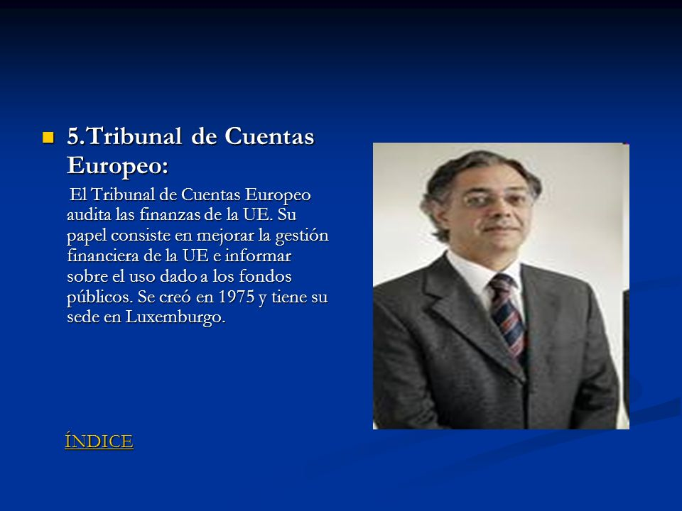 5.Tribunal de Cuentas Europeo: 5.Tribunal de Cuentas Europeo: El Tribunal de Cuentas Europeo audita las finanzas de la UE. Su papel consiste en mejora