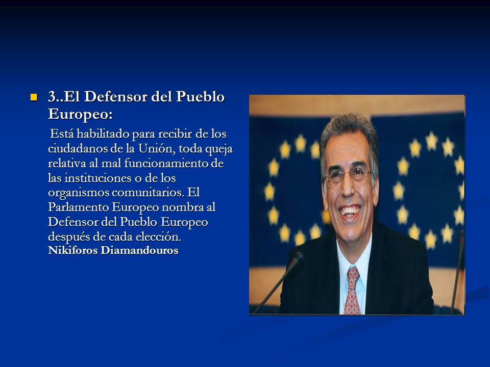 3..El Defensor del Pueblo Europeo: 3..El Defensor del Pueblo Europeo: Está habilitado para recibir de los ciudadanos de la Unión, toda queja relativa
