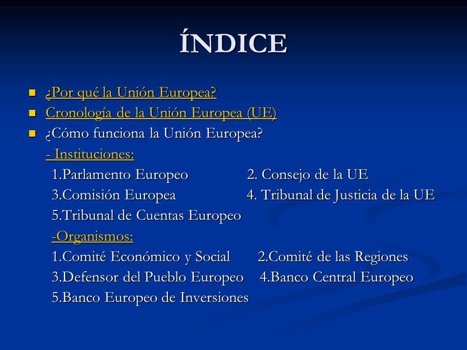 ÍNDICE ¿Por qué la Unión Europea? ¿Por qué la Unión Europea? ¿Por qué la Unión Europea? ¿Por qué la Unión Europea? Cronología de la Unión Europea (UE)
