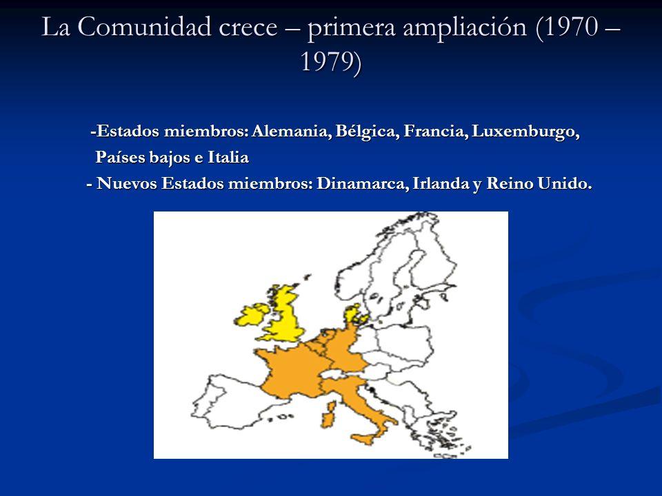 La Comunidad crece – primera ampliación (1970 – 1979) -Estados miembros: Alemania, Bélgica, Francia, Luxemburgo, -Estados miembros: Alemania, Bélgica,