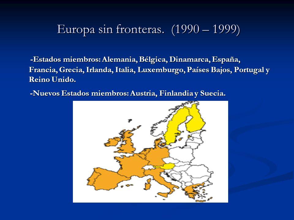 Europa sin fronteras. (1990 – 1999) Europa sin fronteras. (1990 – 1999) -Estados miembros: Alemania, Bélgica, Dinamarca, España, Francia, Grecia, Irla
