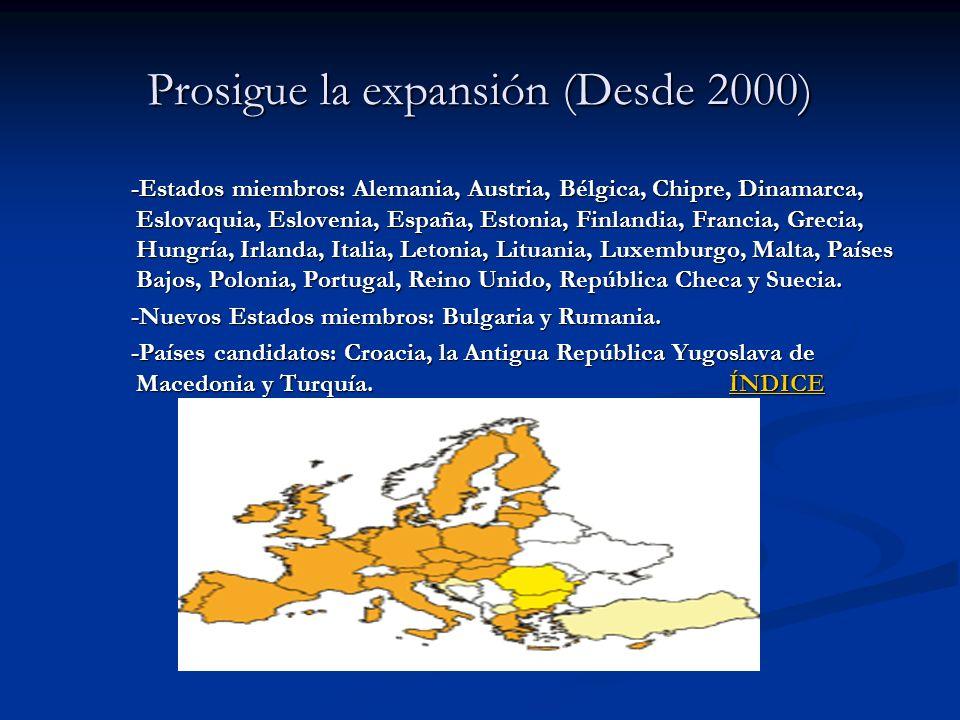 Prosigue la expansión (Desde 2000) -Estados miembros: Alemania, Austria, Bélgica, Chipre, Dinamarca, Eslovaquia, Eslovenia, España, Estonia, Finlandia
