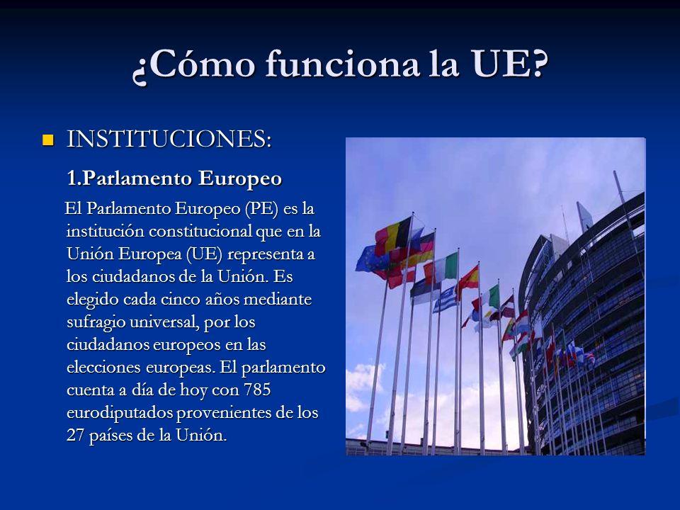 ¿Cómo funciona la UE? INSTITUCIONES: INSTITUCIONES: 1.Parlamento Europeo 1.Parlamento Europeo El Parlamento Europeo (PE) es la institución constitucio