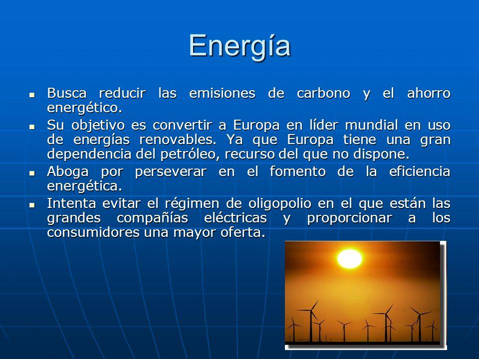 Energía Busca reducir las emisiones de carbono y el ahorro energético. Busca reducir las emisiones de carbono y el ahorro energético. Su objetivo es c