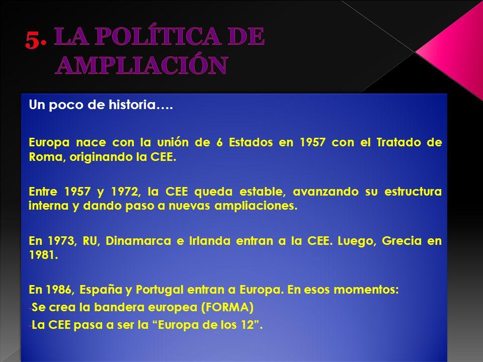Un poco de historia…. Europa nace con la unión de 6 Estados en 1957 con el Tratado de Roma, originando la CEE. Entre 1957 y 1972, la CEE queda estable