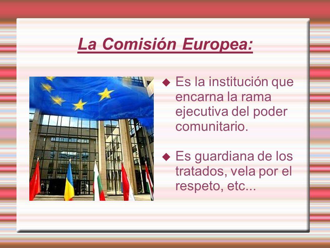 La Comisión Europea: Es la institución que encarna la rama ejecutiva del poder comunitario. Es guardiana de los tratados, vela por el respeto, etc...
