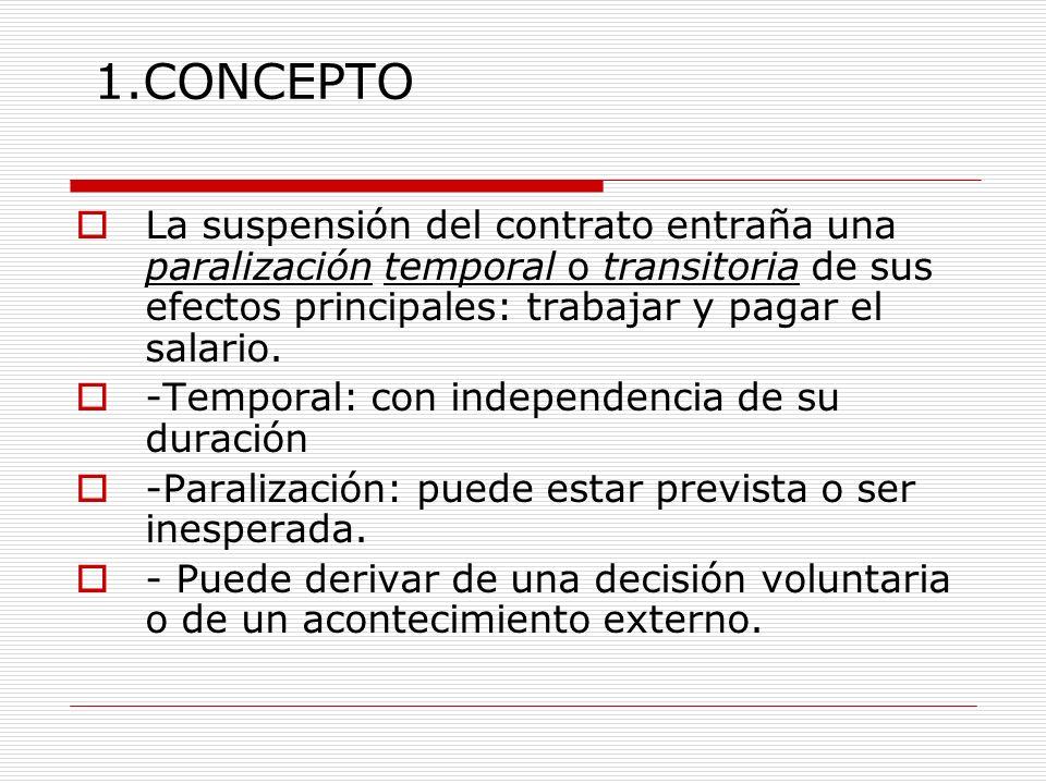 1.CONCEPTO La suspensión del contrato entraña una paralización temporal o transitoria de sus efectos principales: trabajar y pagar el salario. -Tempor
