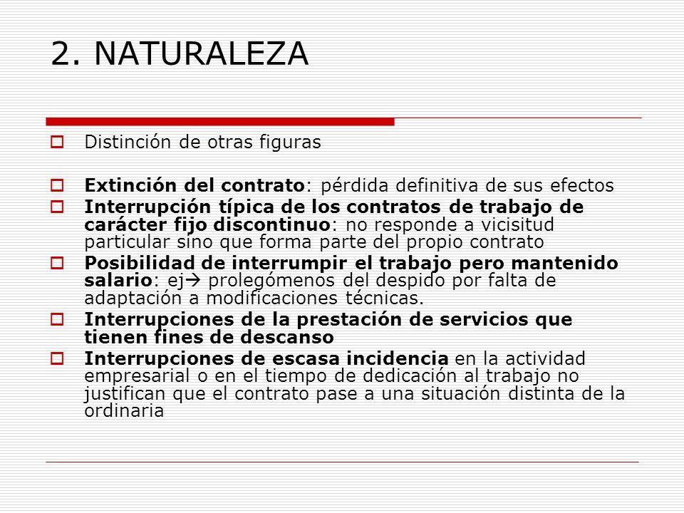 2. NATURALEZA Distinción de otras figuras Extinción del contrato: pérdida definitiva de sus efectos Interrupción típica de los contratos de trabajo de