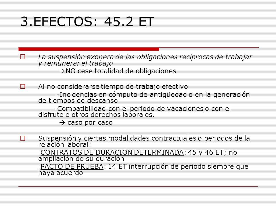 3.EFECTOS: 45.2 ET La suspensión exonera de las obligaciones recíprocas de trabajar y remunerar el trabajo NO cese totalidad de obligaciones Al no con