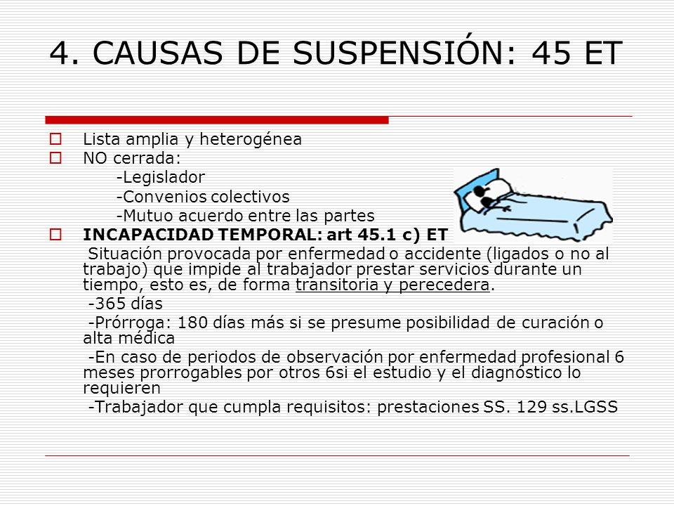 4. CAUSAS DE SUSPENSIÓN: 45 ET Lista amplia y heterogénea NO cerrada: -Legislador -Convenios colectivos -Mutuo acuerdo entre las partes INCAPACIDAD TE