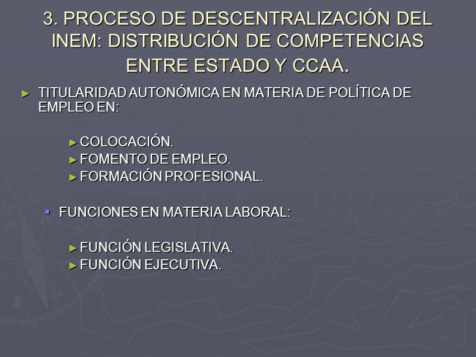 3. PROCESO DE DESCENTRALIZACIÓN DEL INEM: DISTRIBUCIÓN DE COMPETENCIAS ENTRE ESTADO Y CCAA. TITULARIDAD AUTONÓMICA EN MATERIA DE POLÍTICA DE EMPLEO EN