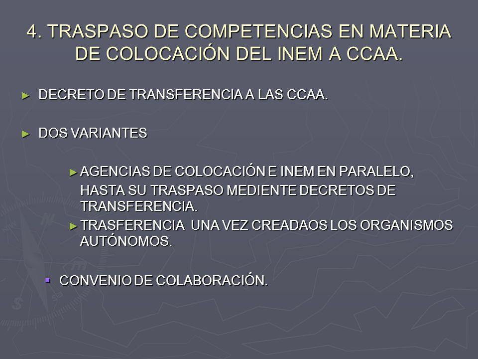 4. TRASPASO DE COMPETENCIAS EN MATERIA DE COLOCACIÓN DEL INEM A CCAA. DECRETO DE TRANSFERENCIA A LAS CCAA. DECRETO DE TRANSFERENCIA A LAS CCAA. DOS VA