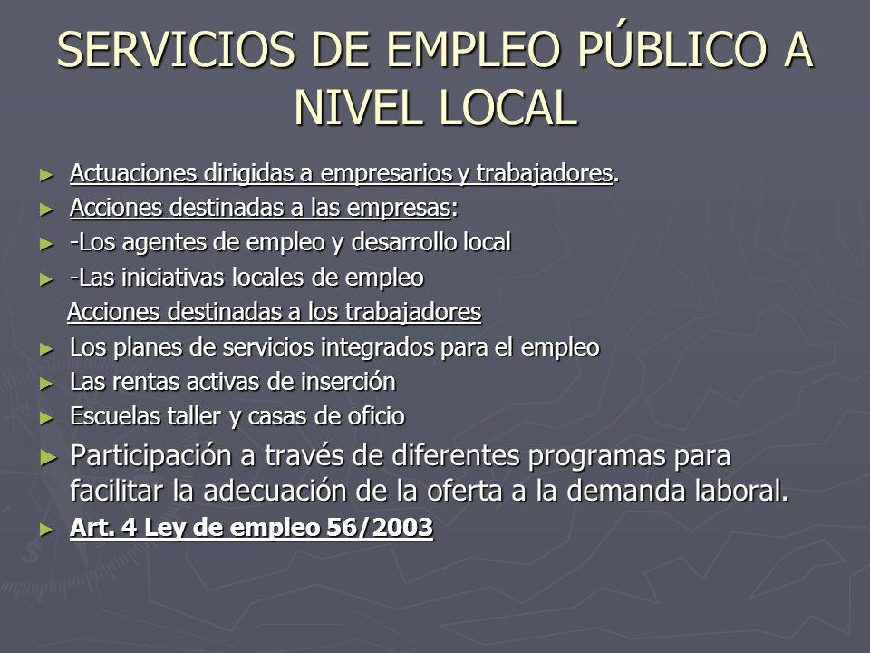 SERVICIOS DE EMPLEO PÚBLICO A NIVEL LOCAL Actuaciones dirigidas a empresarios y trabajadores. Actuaciones dirigidas a empresarios y trabajadores. Acci