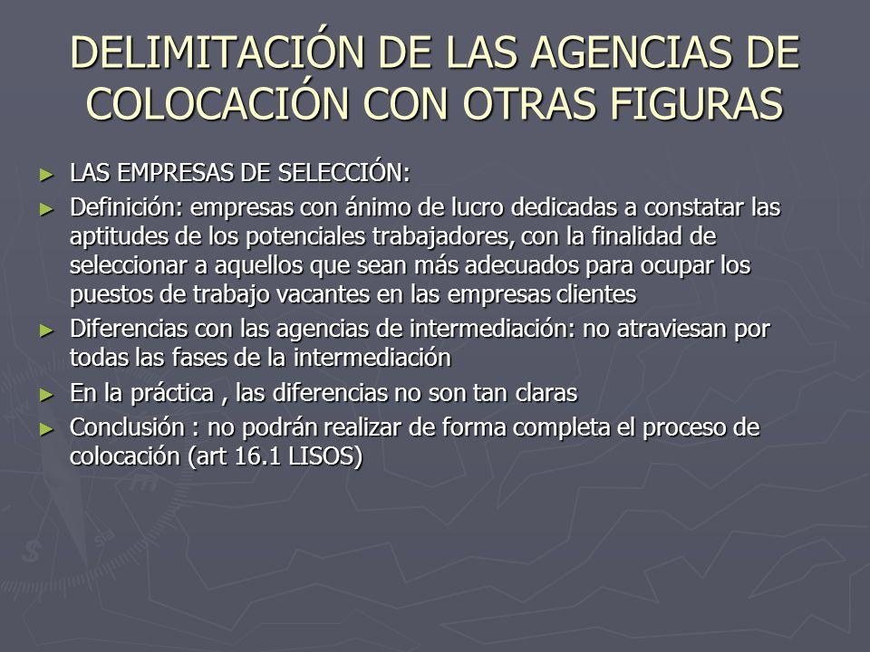 DELIMITACIÓN DE LAS AGENCIAS DE COLOCACIÓN CON OTRAS FIGURAS LAS EMPRESAS DE SELECCIÓN: LAS EMPRESAS DE SELECCIÓN: Definición: empresas con ánimo de l