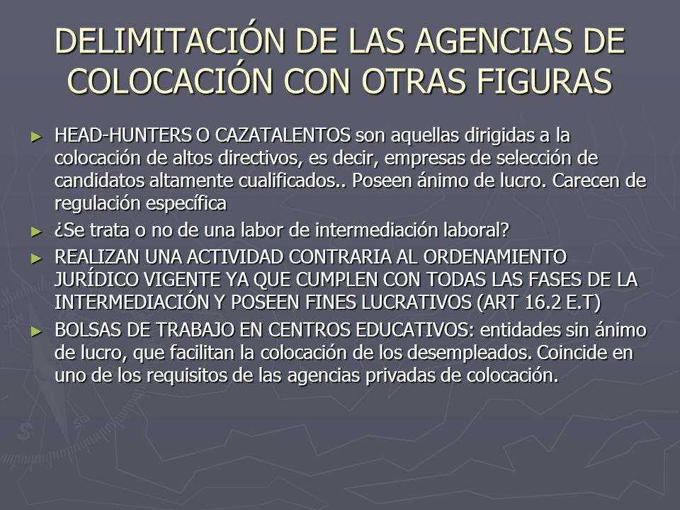 DELIMITACIÓN DE LAS AGENCIAS DE COLOCACIÓN CON OTRAS FIGURAS HEAD-HUNTERS O CAZATALENTOS son aquellas dirigidas a la colocación de altos directivos, e