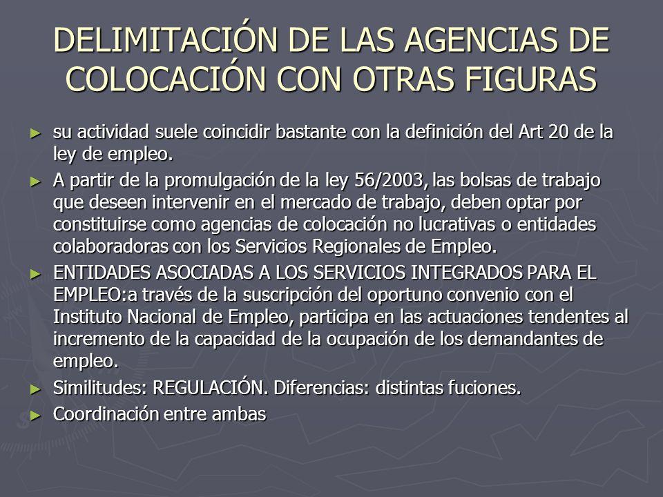 DELIMITACIÓN DE LAS AGENCIAS DE COLOCACIÓN CON OTRAS FIGURAS su actividad suele coincidir bastante con la definición del Art 20 de la ley de empleo. s
