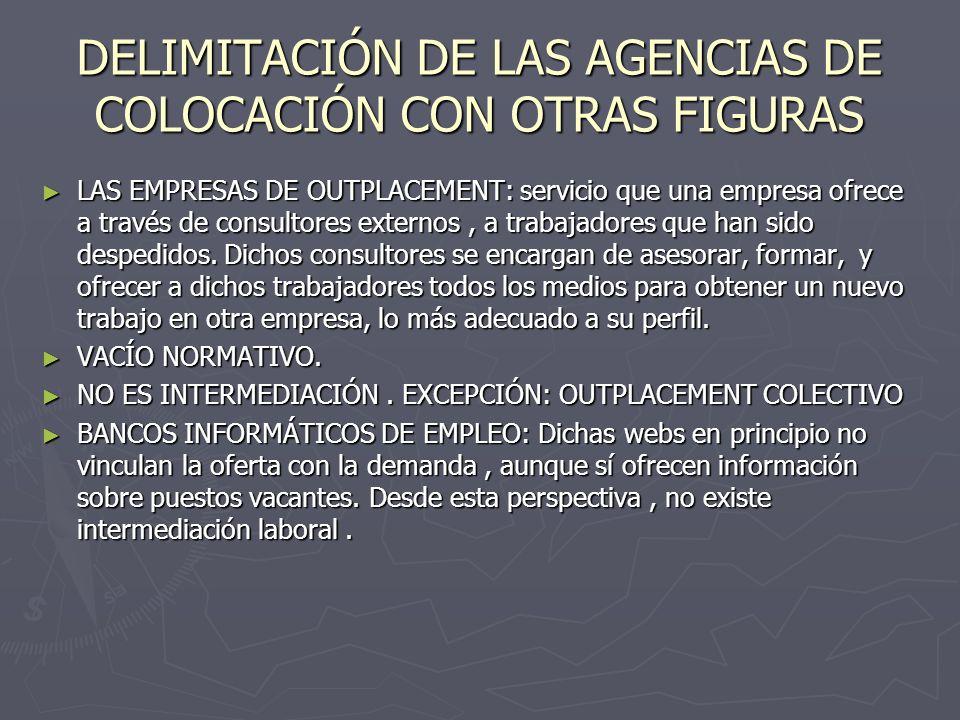 DELIMITACIÓN DE LAS AGENCIAS DE COLOCACIÓN CON OTRAS FIGURAS LAS EMPRESAS DE OUTPLACEMENT: servicio que una empresa ofrece a través de consultores ext