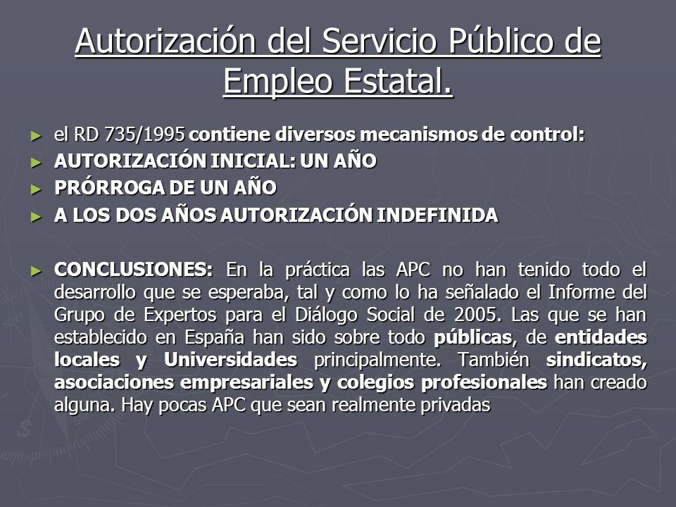 Autorización del Servicio Público de Empleo Estatal. el RD 735/1995 contiene diversos mecanismos de control: el RD 735/1995 contiene diversos mecanism