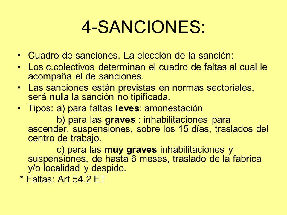4-SANCIONES: Cuadro de sanciones. La elección de la sanción: Los c.colectivos determinan el cuadro de faltas al cual le acompaña el de sanciones. Las