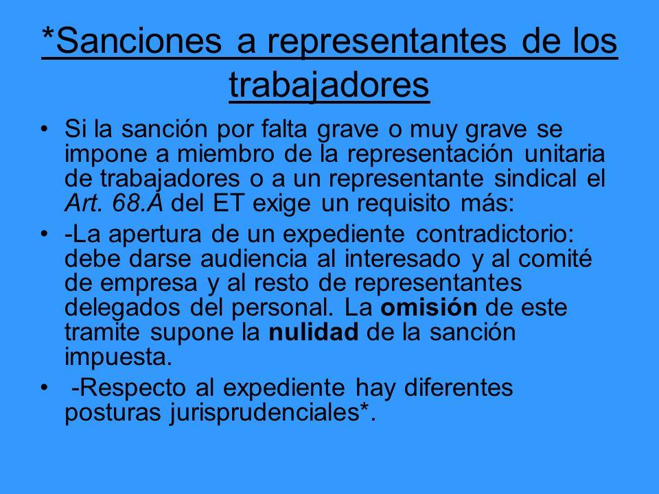 *Sanciones a representantes de los trabajadores Si la sanción por falta grave o muy grave se impone a miembro de la representación unitaria de trabaja