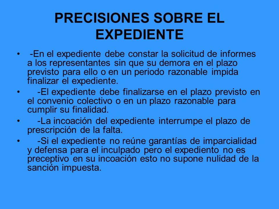 PRECISIONES SOBRE EL EXPEDIENTE -En el expediente debe constar la solicitud de informes a los representantes sin que su demora en el plazo previsto pa