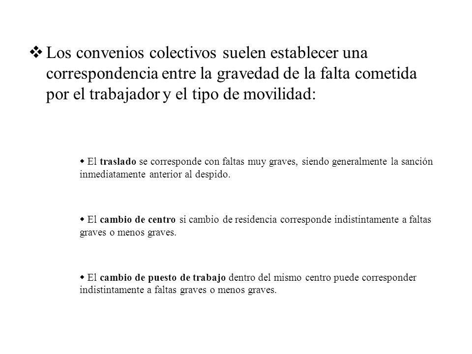 Los convenios colectivos suelen establecer una correspondencia entre la gravedad de la falta cometida por el trabajador y el tipo de movilidad: El tra