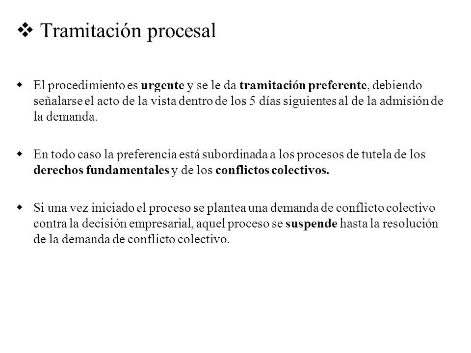 Tramitación procesal El procedimiento es urgente y se le da tramitación preferente, debiendo señalarse el acto de la vista dentro de los 5 días siguie