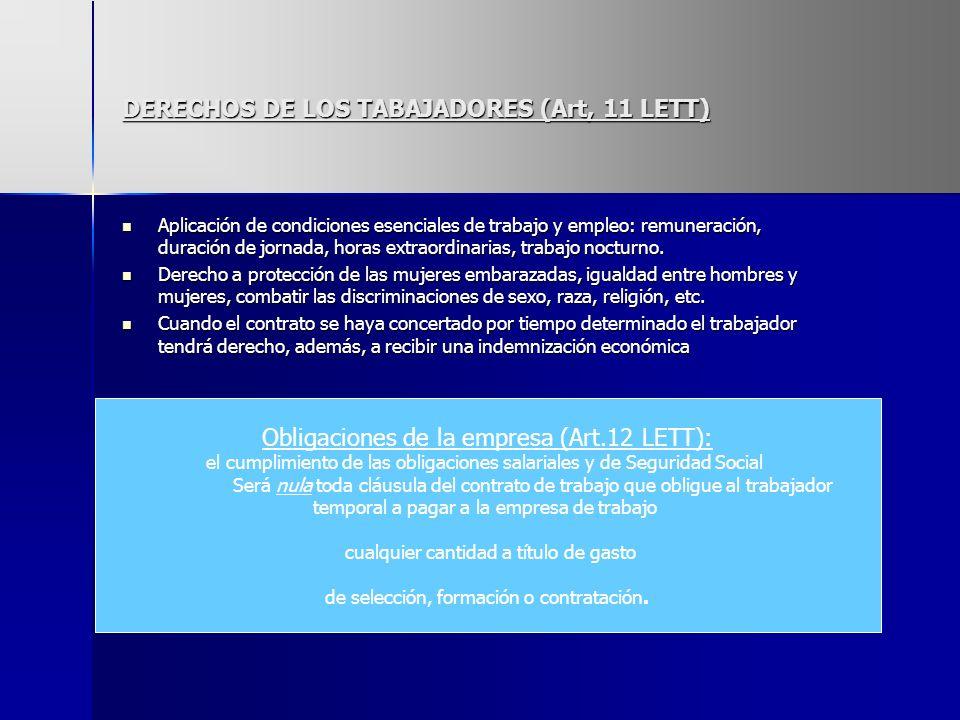 DERECHOS DE LOS TABAJADORES (Art, 11 LETT) Aplicación de condiciones esenciales de trabajo y empleo: remuneración, duración de jornada, horas extraord