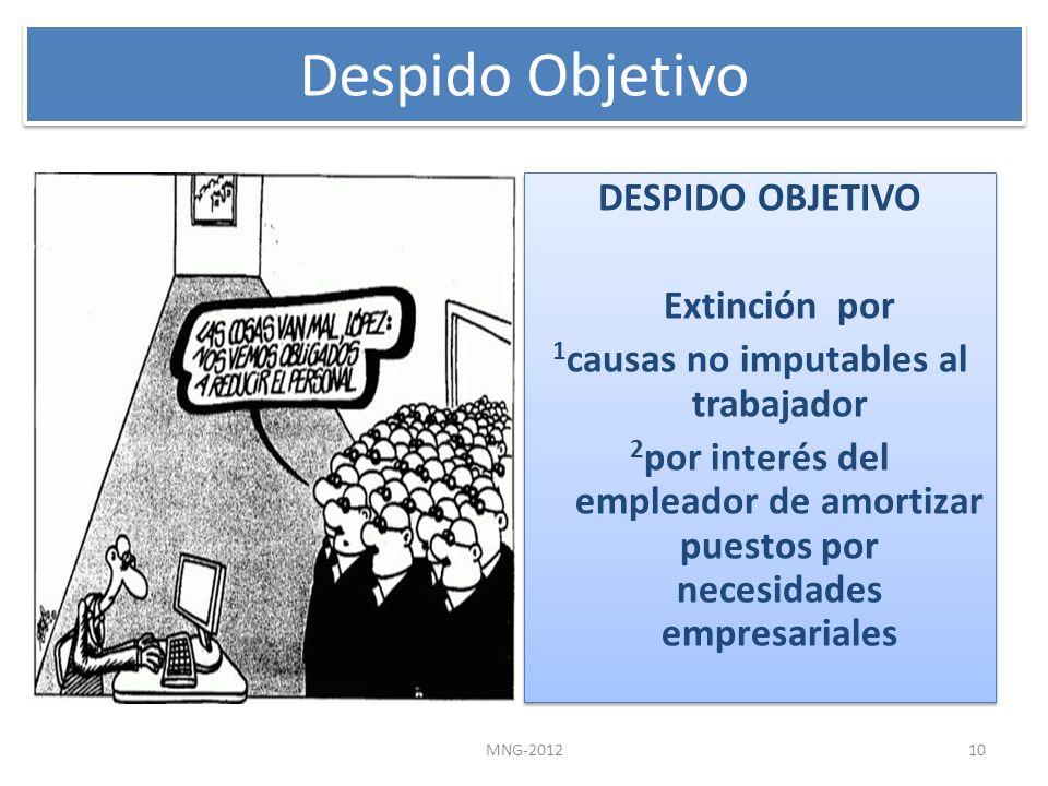 DESPIDO OBJETIVO Extinción por 1 causas no imputables al trabajador 2 por interés del empleador de amortizar puestos por necesidades empresariales DES