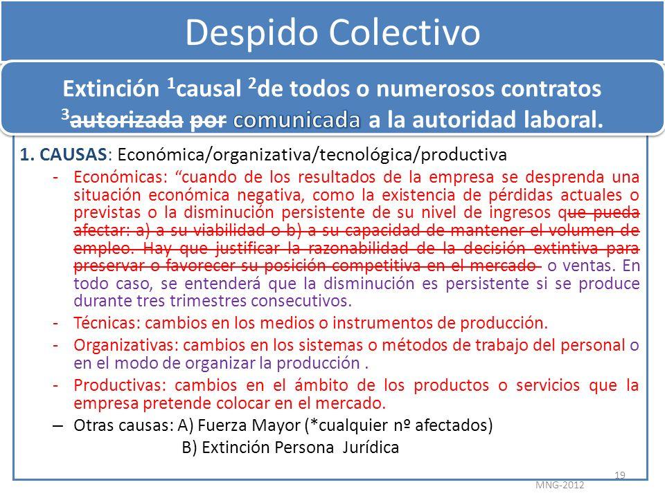 Despido Colectivo 1. CAUSAS: Económica/organizativa/tecnológica/productiva -Económicas: cuando de los resultados de la empresa se desprenda una situac